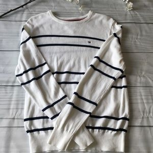 White & Navy Blue Striped Tommy Hilfiger Crewneck